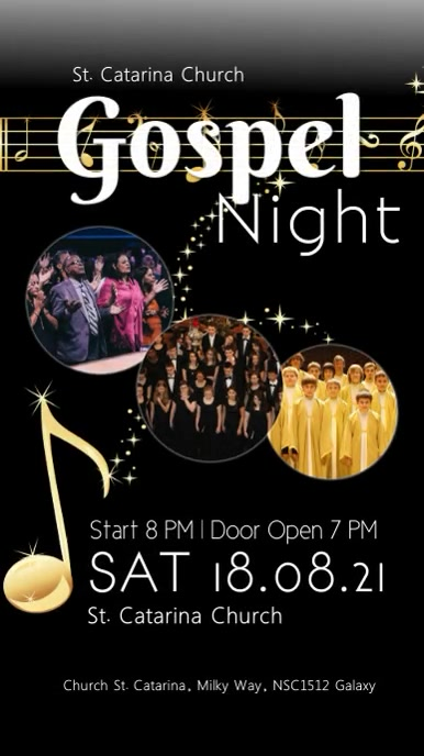 gospel Night concert church music singing ad Instagram-verhaal template