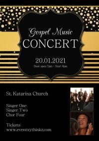 Gospel NIght Music Church Concert Event Flyer A4 template