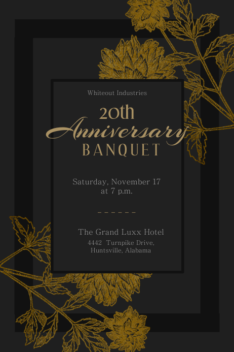 Gothic Anniversary Banquet Invitation Flyer Template Poster