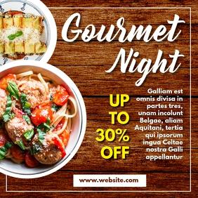gourmet night instagram post wood background template