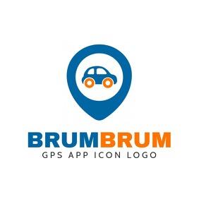 gps icon template blue orange Logotipo