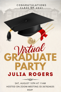 Grad cap virtual graduate party banner แบนเนอร์ 4' × 6' template