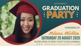 Grad Party Invite Facebook Banner Video template