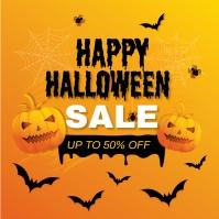 Gradient halloween sale illustration Instagram-opslag template