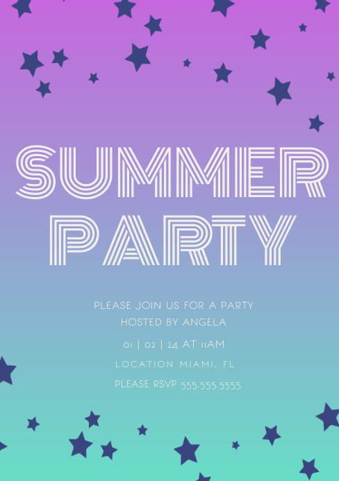 Gradient Star Summer Party Invitation A5 template