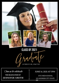 Graduation Announcement Invitation A6 template