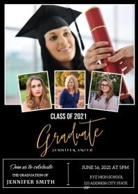 Graduation Announcement Invitation A6 template