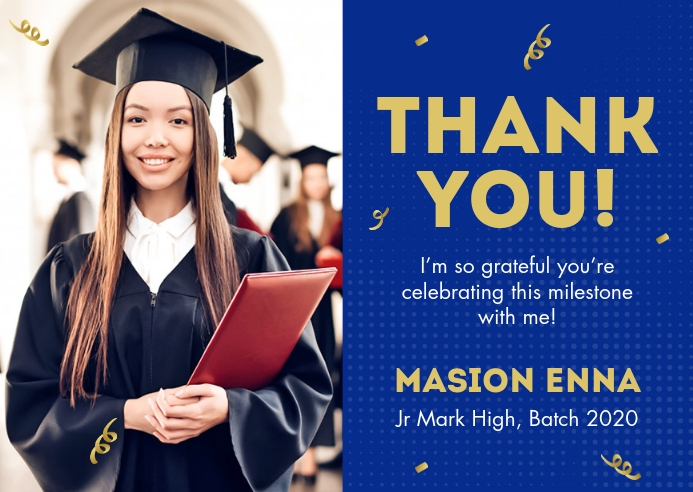 Graduation Celebration Thank You Card Cartolina template