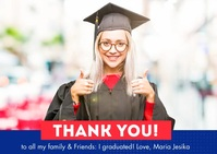 Graduation Celebration Thank You Card Postkort template