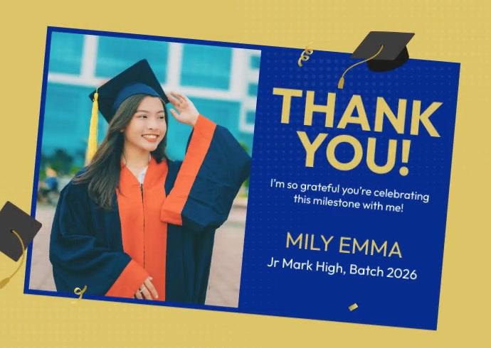 Graduation Celebration Thank You Открытка template