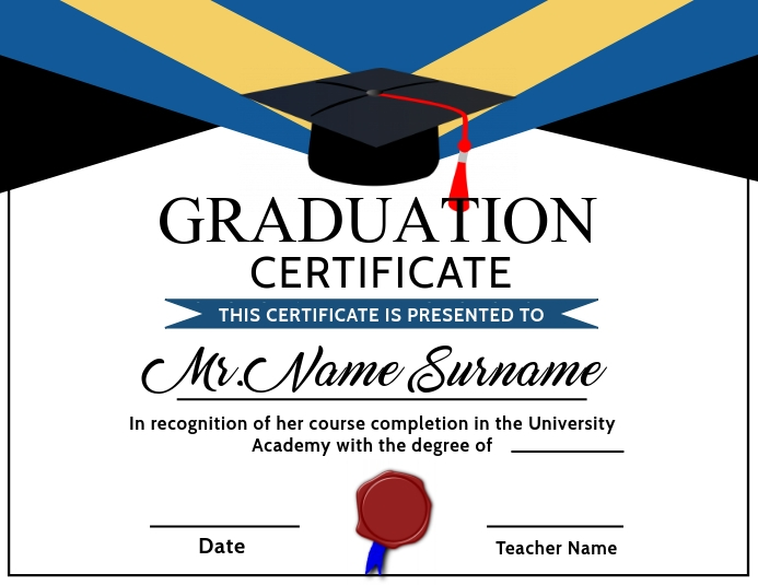 Graduation Certificate Printable Template Рекламная листовка (US Letter)