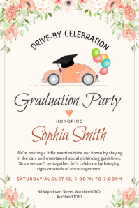Graduation drive by invitation banner template