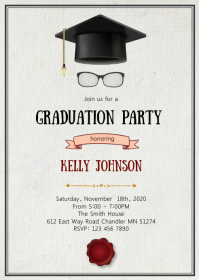 Graduation hat party invitation