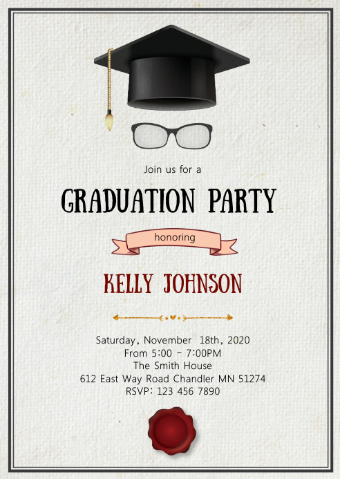 Graduation hat party invitation A6 template