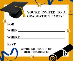 GRADUATION INVITATION Large Rectangle template