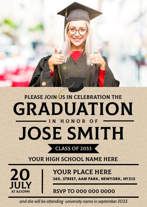 Graduation Invitation A6 template