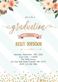 Graduation party invitation A6 template