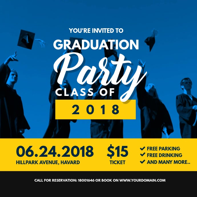 Graduation Party Invitation Online Card Template Postermywall
