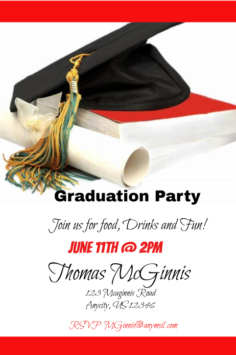 graduation party invitation customize template