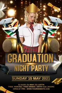 Graduation Party video Póster template
