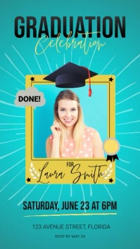 Graduation Party Video Invitation Template Pantalla Digital (9:16)