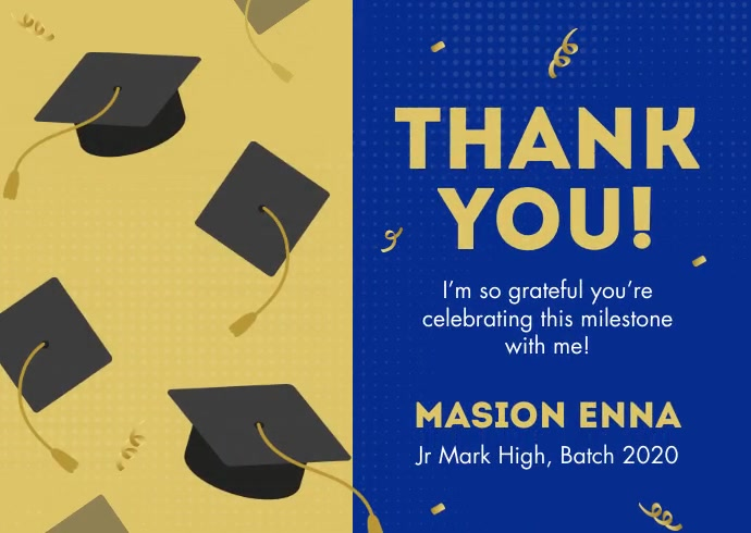 Graduation Thank You Card Postkort template