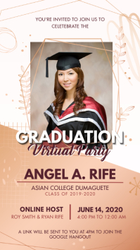 Graduation Virtual Party Digital Display Digitale Vertoning (9:16) template