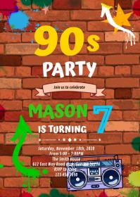 Graffiti Glow 90s party Birthday Invitation A6 template