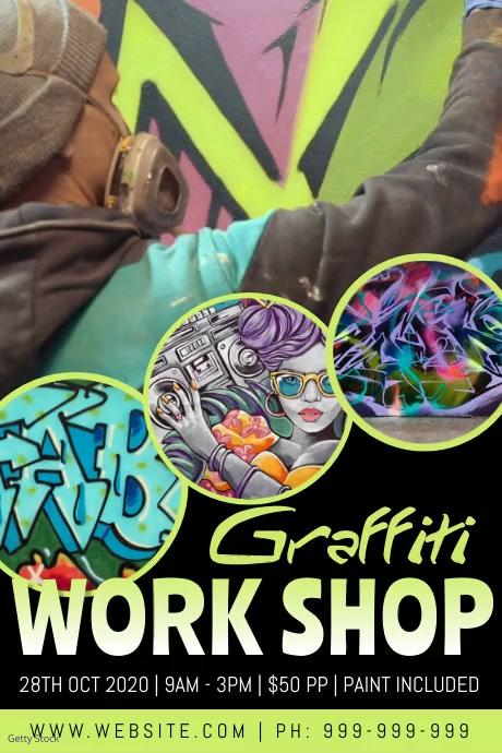 Graffiti Work Shop Video Poster Cartaz template