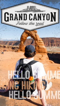 Grand canyon hiking poster template Instagram Story