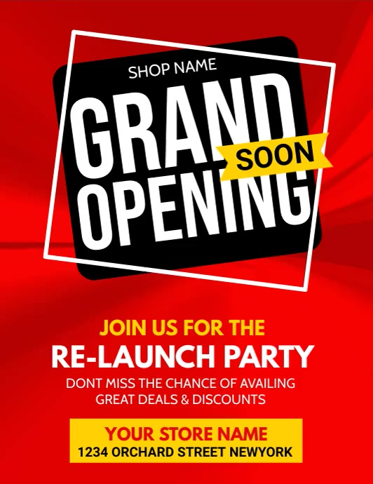 grand opening, opening soon, launching soon Pamflet (VSA Brief) template
