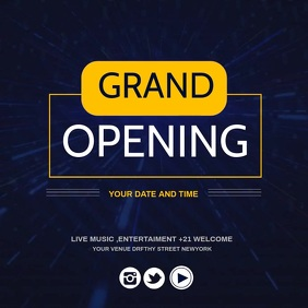 Grand opening,re-launch โพสต์บน Instagram template