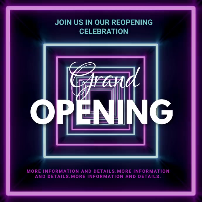 Grand opening,reopening, event,party,sale Instagram-opslag template