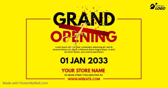 Grand Opening Ad delt Facebook-billede template