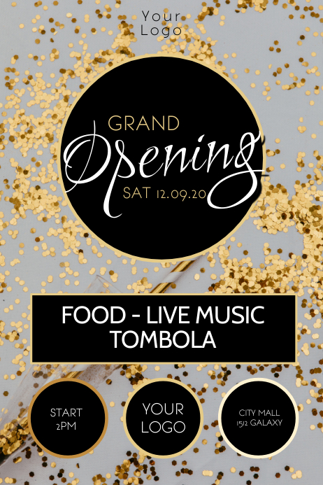 Grand Opening Celebration Event Party Glitter Plakat template