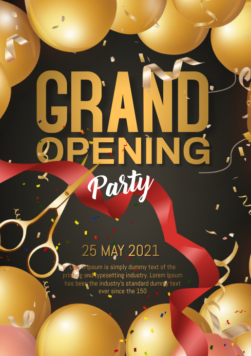 grand opening flyer A4 template