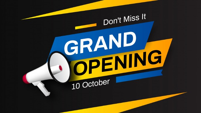 grand opening flyer Video Sampul Facebook (16:9) template