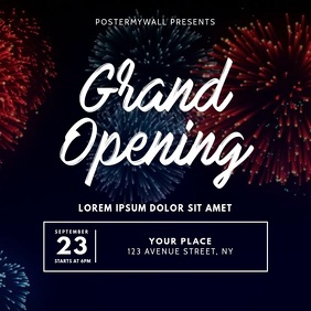 Grand Opening Flyer Design Template Square (1:1)
