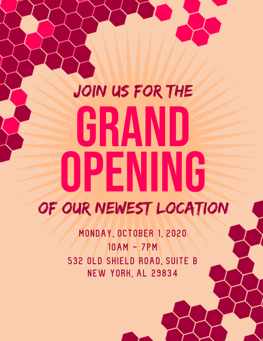 Grand Opening Flyer Ulotka (US Letter) template