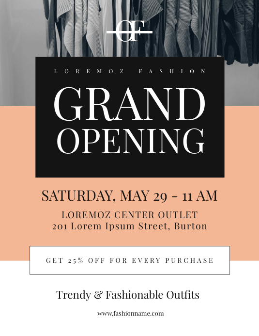 Grand Opening Flyer Template Pamflet (Letter AS)