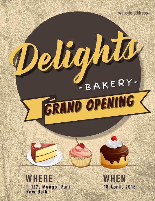 Grand Opening of Bakery Flyer template Pamflet (Letter AS)