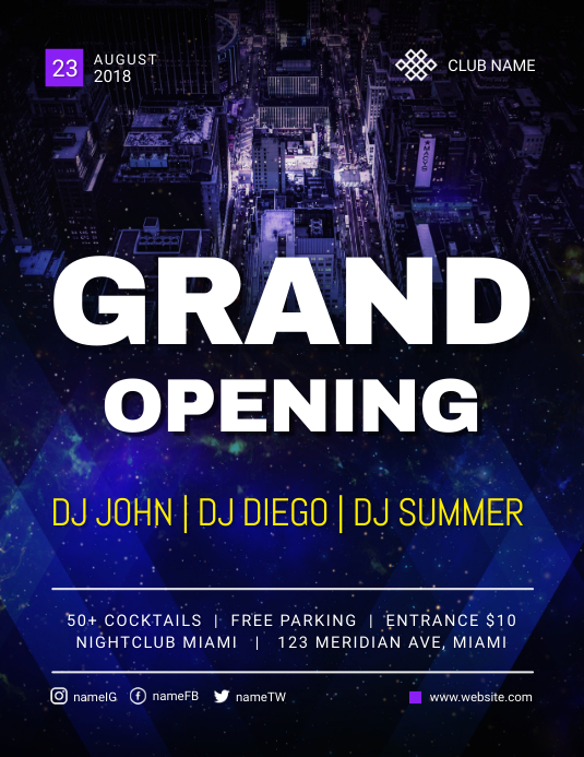 Grand Opening Of Night Club Flyer Template Postermywall