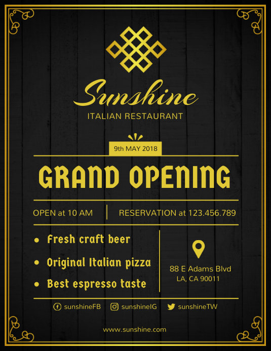 Grand Opening of Restaurant Flyer Template Ulotka (US Letter)