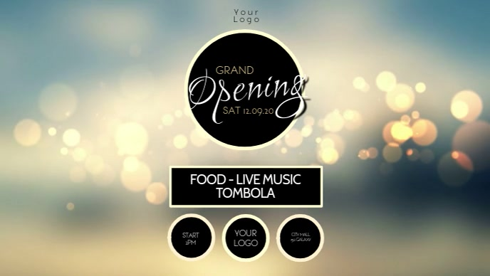 Grand opening party celebration video advert Facebook 封面视频 (16:9) template