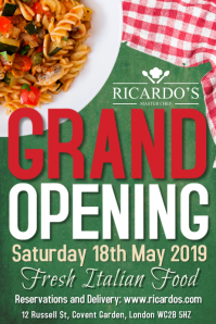 Grand Opening Restaurant Poster Template