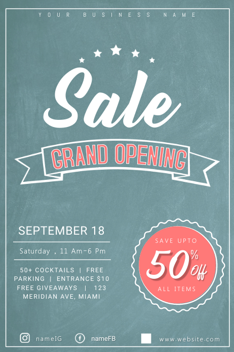 Grand Opening Sale Poster Template