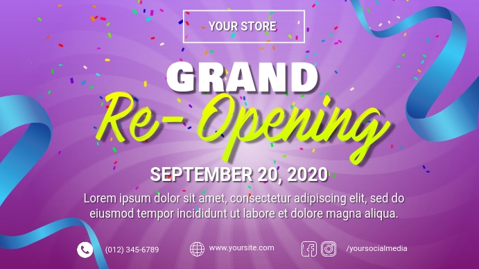 Grand Re-Opening Ad Template Digital Display (16:9)