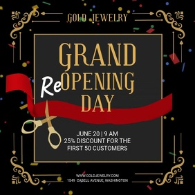 Grand reopening day Persegi (1:1) template