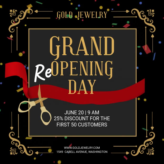 Grand reopening day Cuadrado (1:1) template