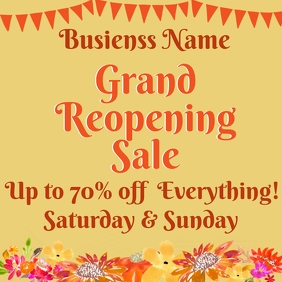 Grand Reopening Floral Instagram Post
